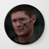 dean winchester Wall Clocks featuring Dean Winchester by Rousetta
