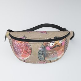 Colorful Owl Couple Fanny Pack