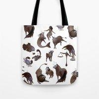 zodiac Tote Bags featuring Skeleton zodiac by Rozenn