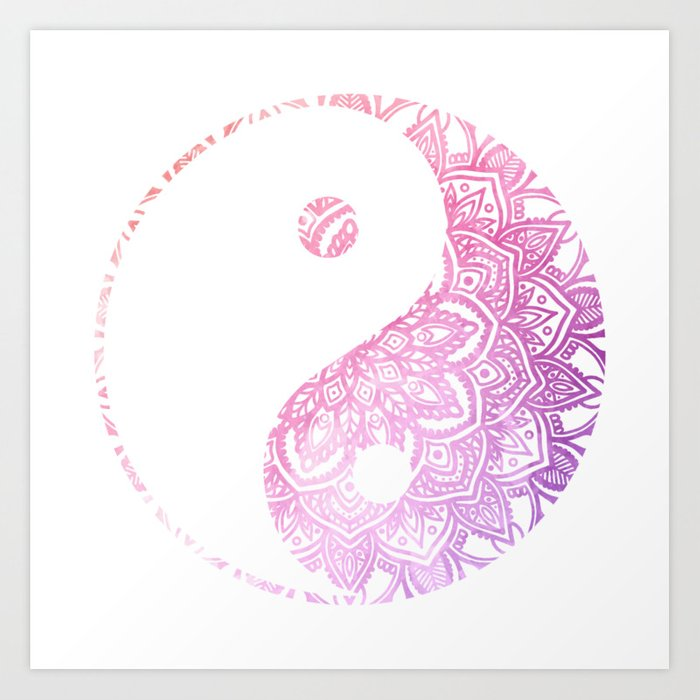Watercolor Yin Yang Mandala Art Print By Halycyoniandesign Society6