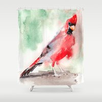 cardinal Shower Curtains featuring CARDINAL by LILIOM GRAPHICS