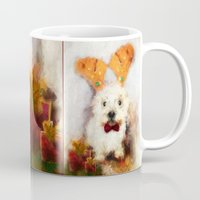 westie Mugs featuring Merry Christmas Happy Holiday Westie by Ginkelmier