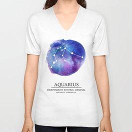 Aquarius Watercolor Zodiac Constellation Unisex V-Neck