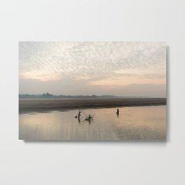 Fishermen on the Mekong river, Laos Metal Print