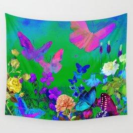 Green Butterflies & Flowers Wall Tapestry