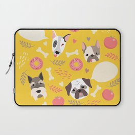 Cute dog illustration color card with cloud place for your text Laptop Sleeve