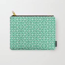 Jade and White Greek Key Pattern Carry-All Pouch
