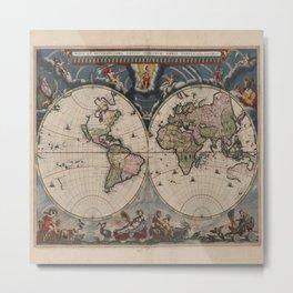 Vintage World Map - Terrarum Orbis Tabula 1664 Metal Print