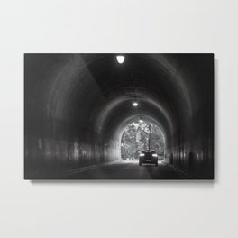 Travel photography through the tunnel black & white Metal Print