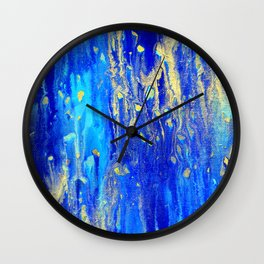 Gold & blue abstract d171013 Wall Clock