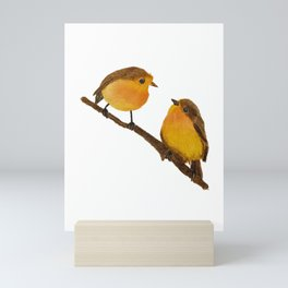 Two Robins on a branch Mini Art Print