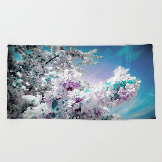 Flowers Lavender Turquoise Aqua Blue Beach Towel