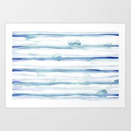 Abstract Watercolor Stripes Blue and White 10 Art Print