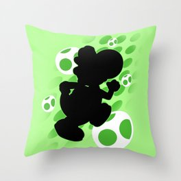 Super Smash Bros. Green Yoshi Silhouette Throw Pillow