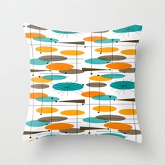 Mid-Century Modern Ovals Abstract II Throw Pillow