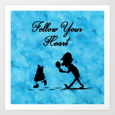 Follow Your Heart - Watercolor Background Art Print