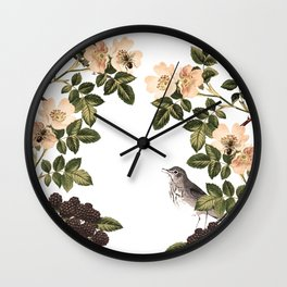 Blackberry Spring Garden - Birds and Bees Cream Flowers Wall Clock