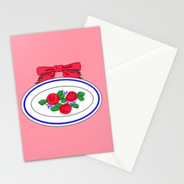 A Vintage Country Platter with a Bow and Roses Stationery Cards