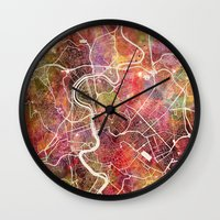 rome Wall Clocks featuring Rome by MapMapMaps.Watercolors