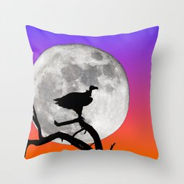 Vulture with Supermoon Throw Pillow