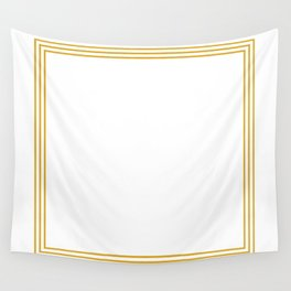 Triple Line in Golden Yellow on White Wall Tapestry