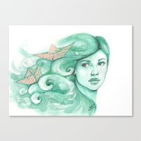 ships Canvas Prints featuring Paper ships by Pendientera