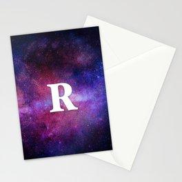 Monogrammed Logo Letter R Initial Space Blue Violet Nebulaes Stationery Cards