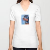 rottweiler V-neck T-shirts featuring Rottweiler by Doggyshop