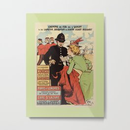 Paris to London vintage railways advertisement Metal Print