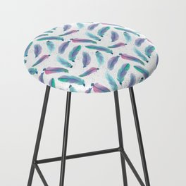 Watercolor Feathers Bar Stool