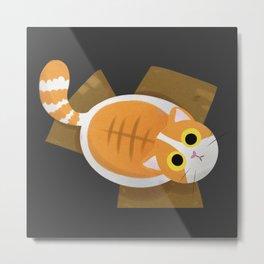 Marshmallow Box Cat Metal Print