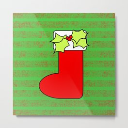 Christmas stocking with decorative holly leaves and mistletoe Metal Print