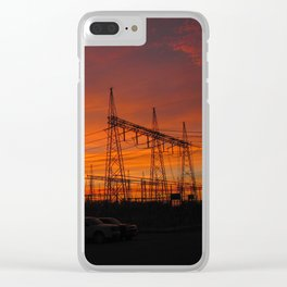 Electricial Sunset Clear iPhone Case