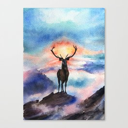 Deer on the top of the World - Watercolor Painting Art Canvas Print