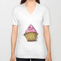 cupcake V-neck T-shirts featuring Cupcake by Svitlana M