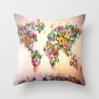map of the world Throw Pillows featuring world map by Bekim ART