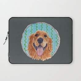 You're Never Fully Dressed without a Smile, Golden Retriever, Whimsical Watercolor Painting, Grey Laptop Sleeve