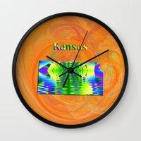 kansas Wall Clocks featuring Kansas Map by Roger Wedegis