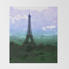 Paris Eiffel Tower Periwinkle Teal Aqua Throw Blanket