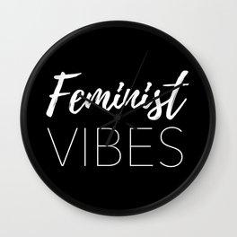 Feminist Vibes Black Wall Clock