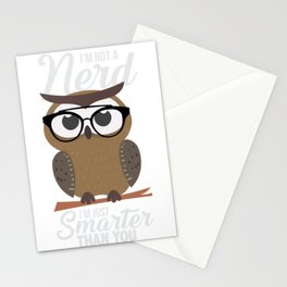 nerdy owl intelligent smart reading funny gift Stationery Cards