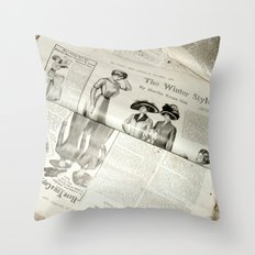 Old Vintage Newspaper Left to the Elements...Winter Styles Throw Pillow