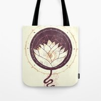 lotus Tote Bags featuring Lotus by Hector Mansilla