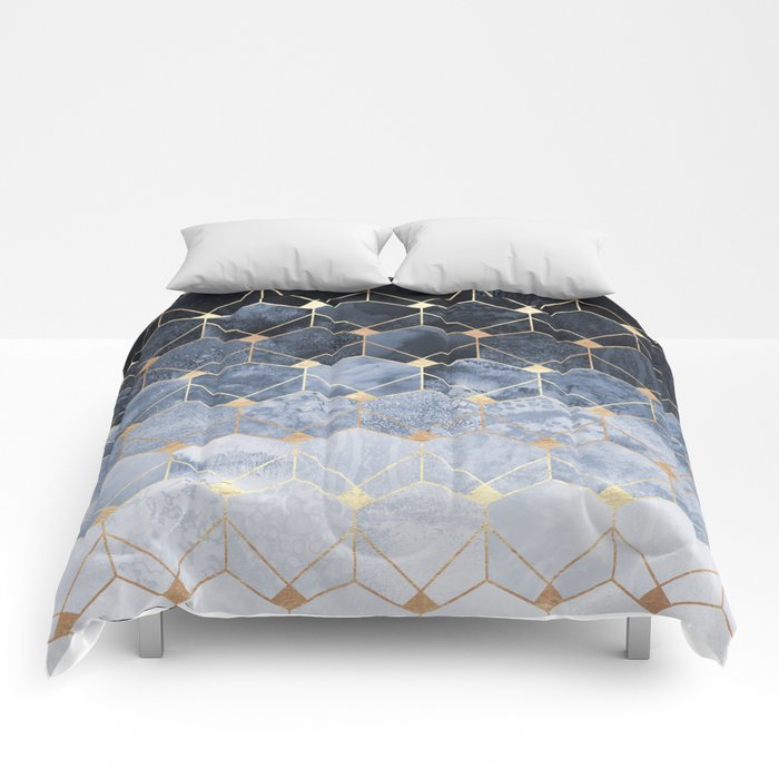 Blue Hexagons And Diamonds Comforters