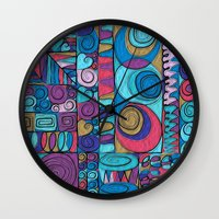stained glass Wall Clocks featuring Stained Glass by Helene Michau