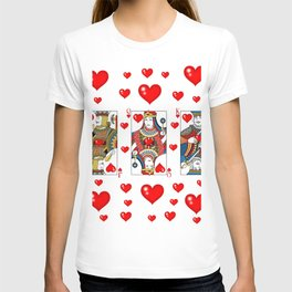 JACK, QUEEN, KING OF HEARTS SUIT CASINO  FACE CARDS T-shirt
