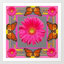 Pink Gerbera Flowers Orange Butterflies Grey Patterns Art Print