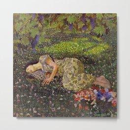 Dreaming, Woman in the Wine Vineyard amid dahlias, peonies & tulips floral painting Metal Print