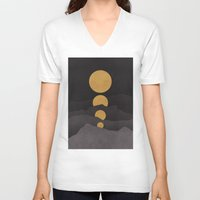 minimalist V-neck T-shirts featuring Rise of the golden moon by Picomodi