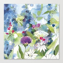 Blue Wild Flowers with Thistles and Daisies Canvas Print